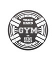 round gym emblem logo badge with barbells vector image vector image