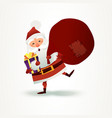santa claus with sack full of gift and present box vector image vector image