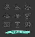 set of food icons line style symbols with box of vector image