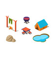 set of isometric icons for camping tent vector image