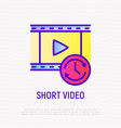 short video thin line icon vector image