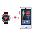 smart watch and smartphone with fitness vector image vector image