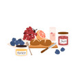 still life with picnic food such as snacks bread vector image