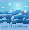 stop pollution ecological blue poster vector image vector image