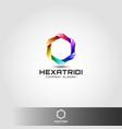 stylish 3d hexagon logo template vector image