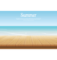 summer background blue sky with sea and wooden vector image vector image