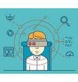 User uses helmet of virtual reality vector image vector image