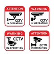 Video surveillance signs set vector image vector image