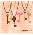 Vintage Hanging Keys Template vector image