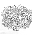 Wedding hand lettering and doodles elements sketch vector image vector image