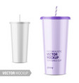 white disposable glossy cup with lid and straw vector image