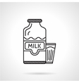 Milk bottle black line icon vector image