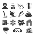 Ski resort sports icons Winter snow skiing sport vector image