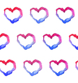 Watercolor gradient hearts seamless pattern vector image