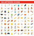 100 artwork icons set isometric 3d style vector image vector image