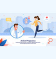 active and healthy pregnancy flat banner vector image vector image