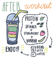 After workout hand drawn smoothie recipe vector image