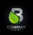 b green leaf letter design logo eco bio leaf vector image