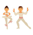 ballet dancers in white skinny clothes perform vector image