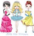 beautiful fashion girl princesses vector image vector image