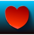 Blue Card for Valentines red heart vector image