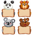 board template with cute bears on white background vector image vector image