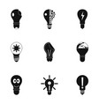 bulb icons set simple style vector image vector image