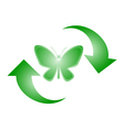 Butterfly recycle symbol vector image vector image