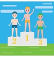 Children swimming sport team on pedestal Boys vector image vector image