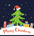 Christmas tree in red santa hat new year concept