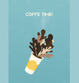coffee time banner disposable coffee cup with vector image vector image