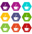 cup of hot drink icon set color hexahedron vector image vector image