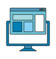 desktop computer with webpage template vector image vector image