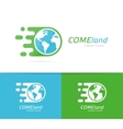 fast earth logo combination Speed world vector image vector image