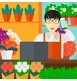 Florist taking order vector image