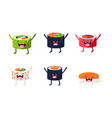 funny sushi characters set asian food with cute vector image vector image