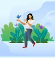 girl happy in nature vector image vector image