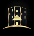 gold modern house building icon vector image