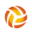 grunge orange volleyball silhouette vector image vector image
