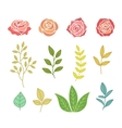 Hand Drawn Botany Set Of Flowers And Leaves vector image vector image