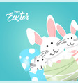 happy easter rabbit white cute bunny vector image
