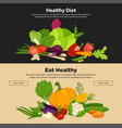 Healthy diet vegetables organic food banners fresh