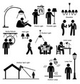 home house lighting lamp designs stick figure vector image vector image