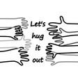 hug doodles lines hands horizontal poster vector image vector image