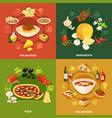 italian food 2x2 design concept vector image vector image