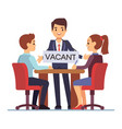 job interview with hr managements man with table vector image vector image