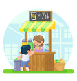 lemonade booth with happy little cute girl selling vector image vector image