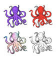 octopus print in different hand drawn style vector image
