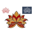 Orange and red persian paisley flower vector image vector image