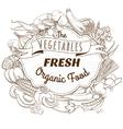 Outline hand drawn sketch vegetable wooden frame vector image vector image
